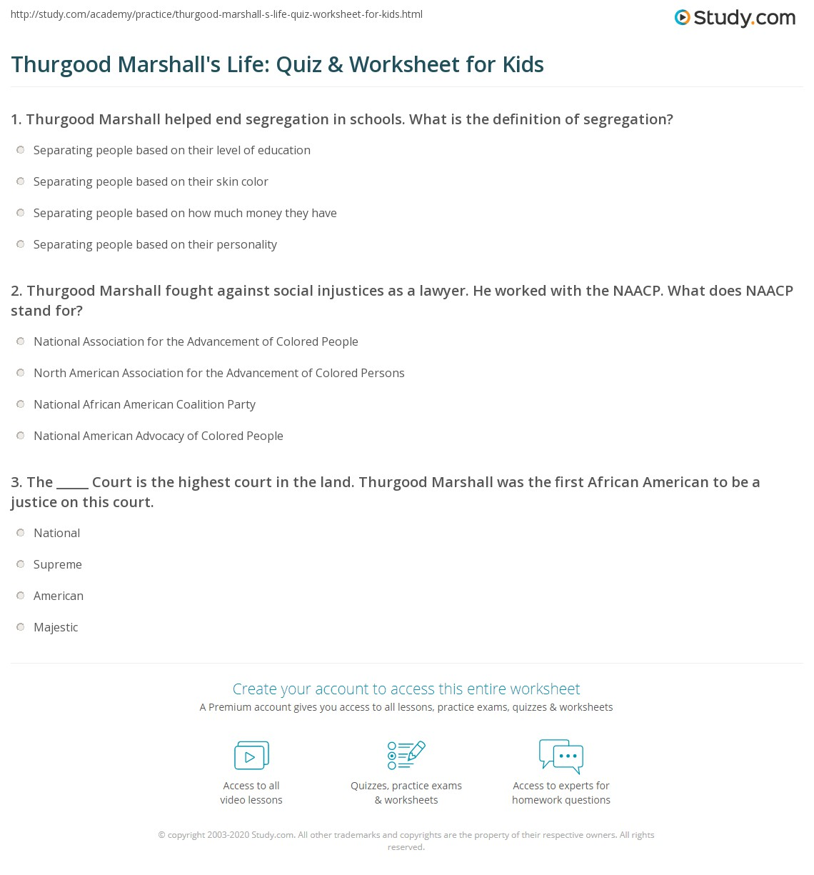 Thurgood Marshall S Life Quiz Amp Worksheet For Kids