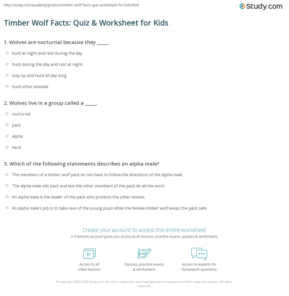 Timber Wolf Facts Quiz Amp Worksheet For Kids