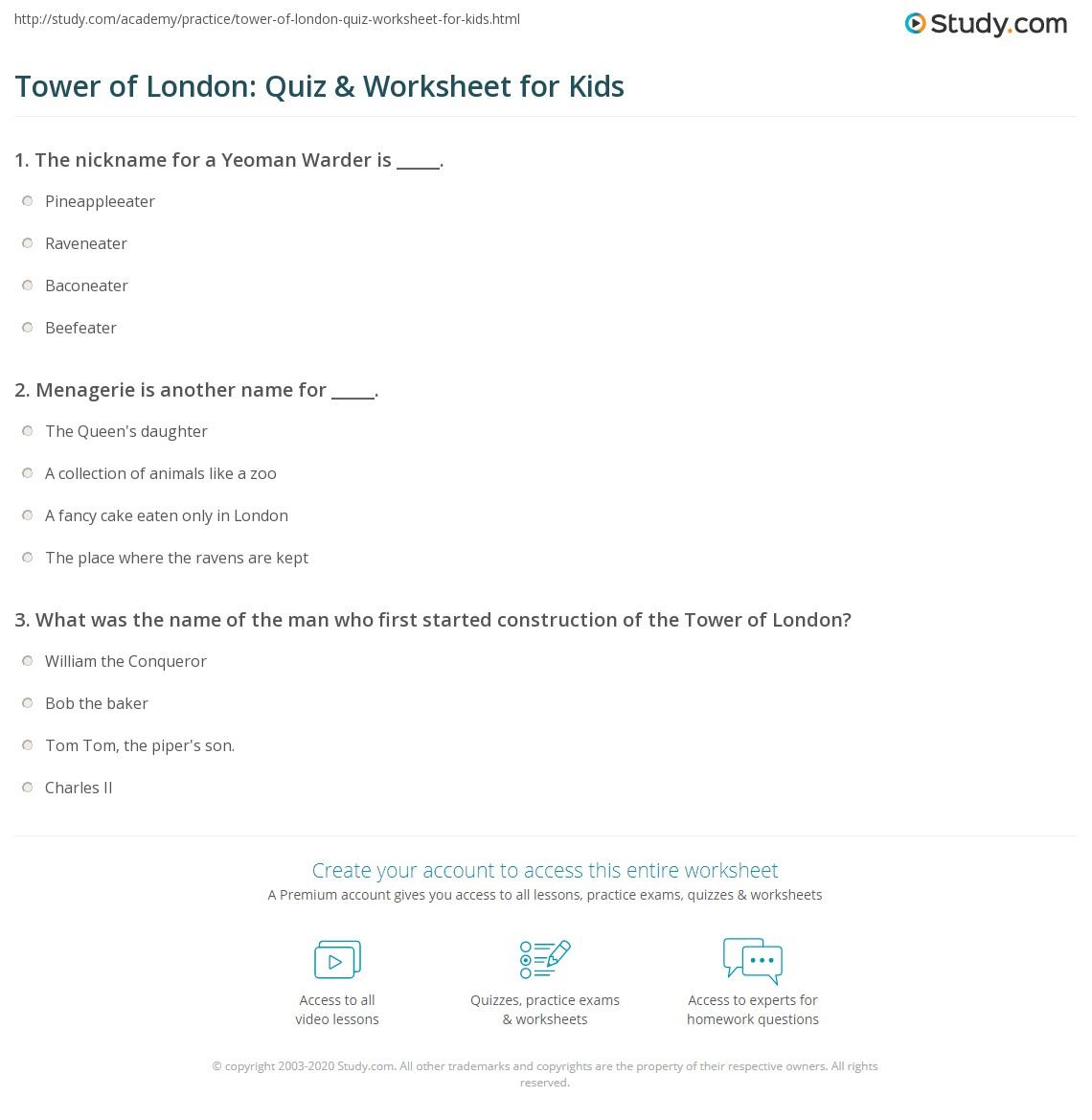 Tower Of London Quiz Amp Worksheet For Kids