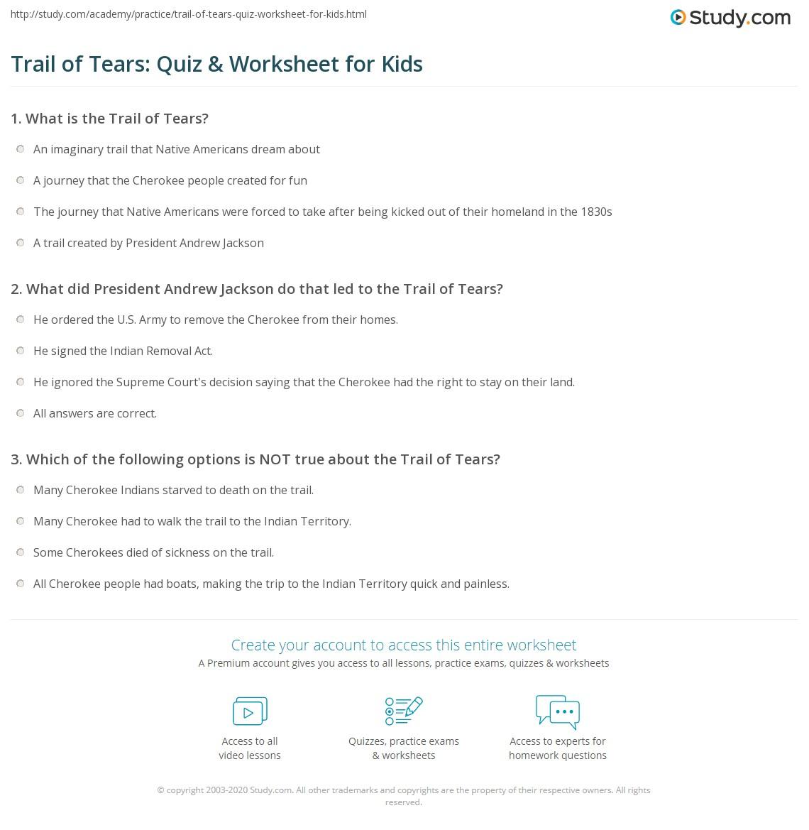 Trail Of Tears Quiz Amp Worksheet For Kids
