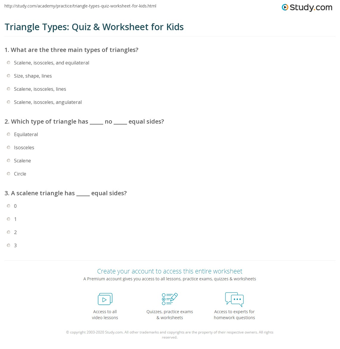 Triangle Types Quiz Amp Worksheet For Kids