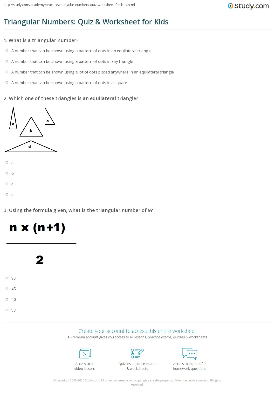 Triangular Numbers Quiz Amp Worksheet For Kids