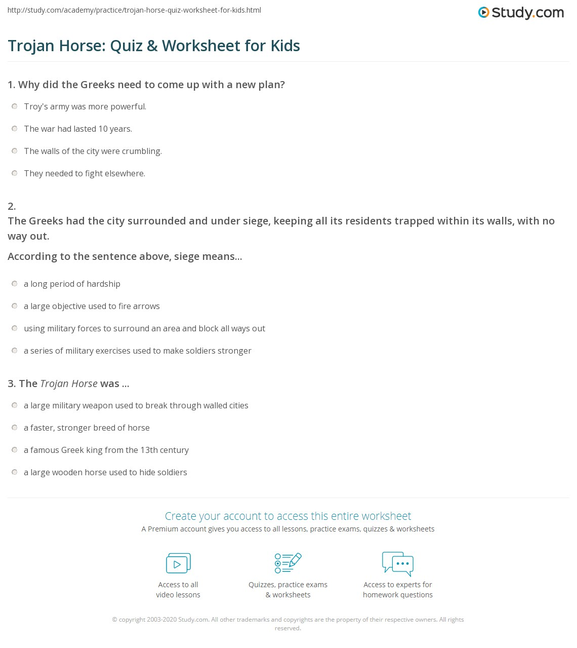 Trojan Horse Quiz Amp Worksheet For Kids