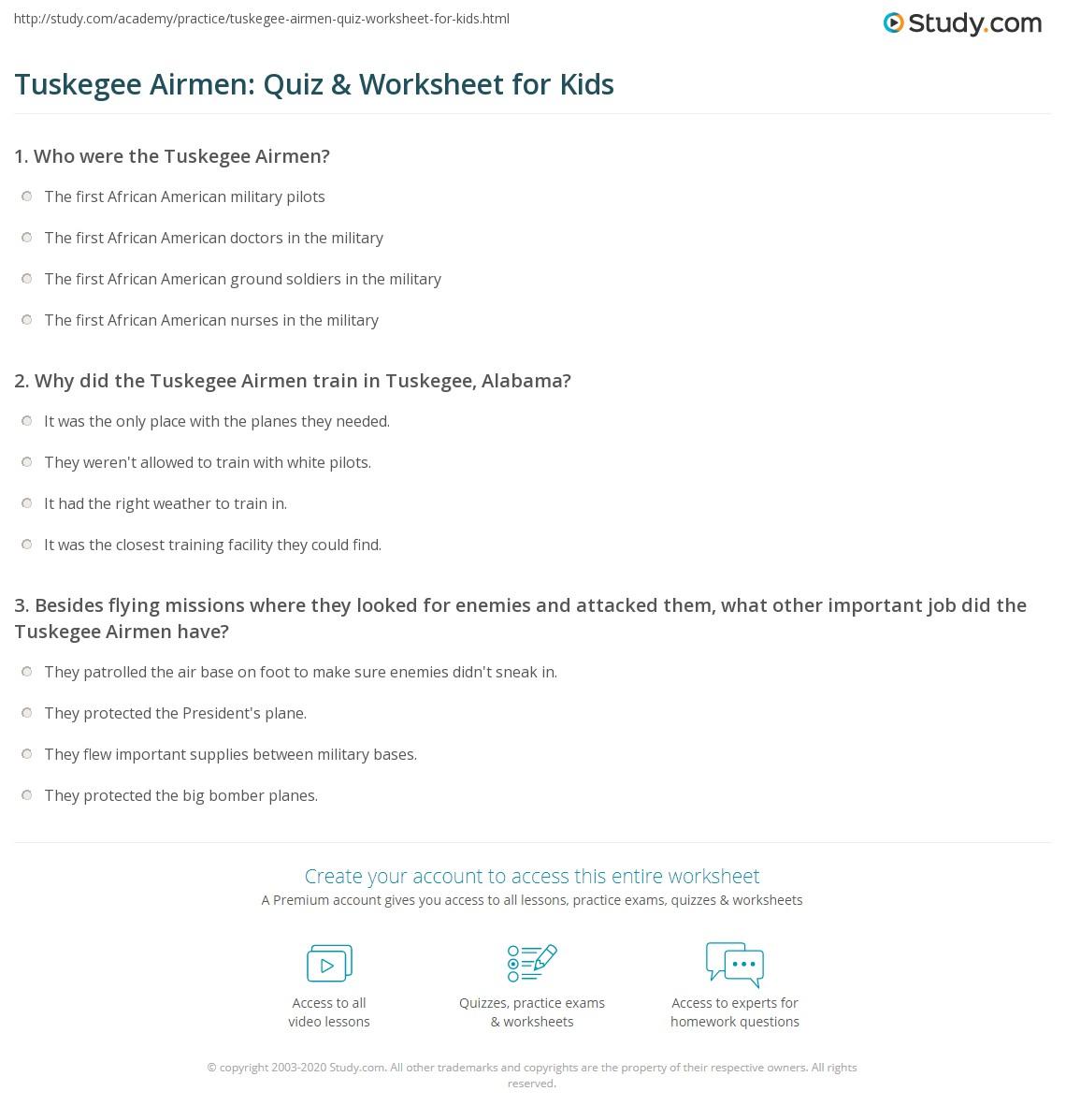 Tuskegee Airmen Quiz & Worksheet For Kids Study Com