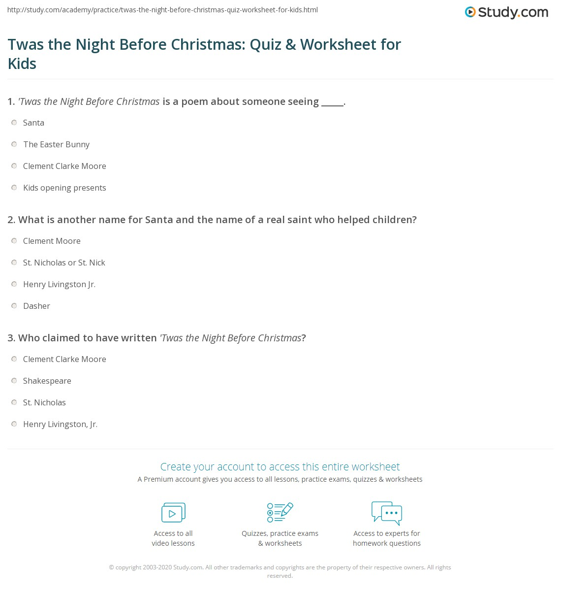 Twas The Night Before Christmas Quiz Amp Worksheet For Kids