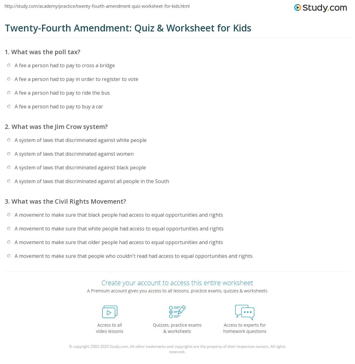 Twenty Fourth Amendment Quiz Amp Worksheet For Kids