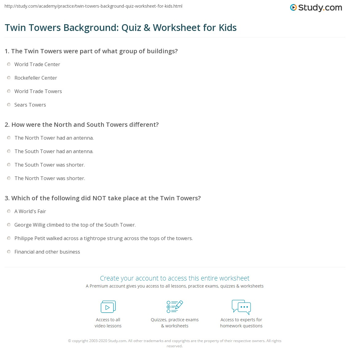 Twin Towers Background Quiz Amp Worksheet For Kids