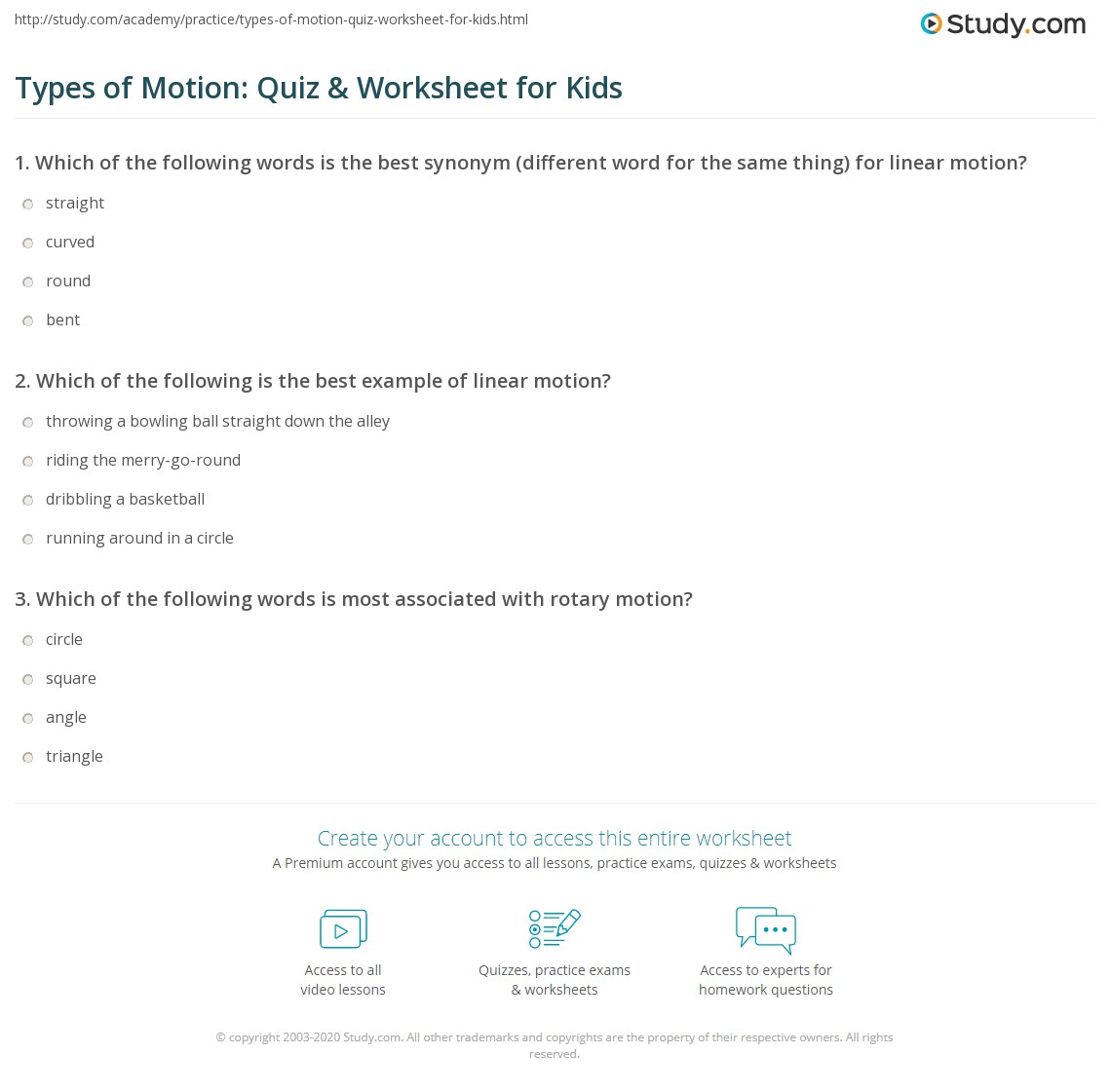 Types Of Motion Quiz Amp Worksheet For Kids