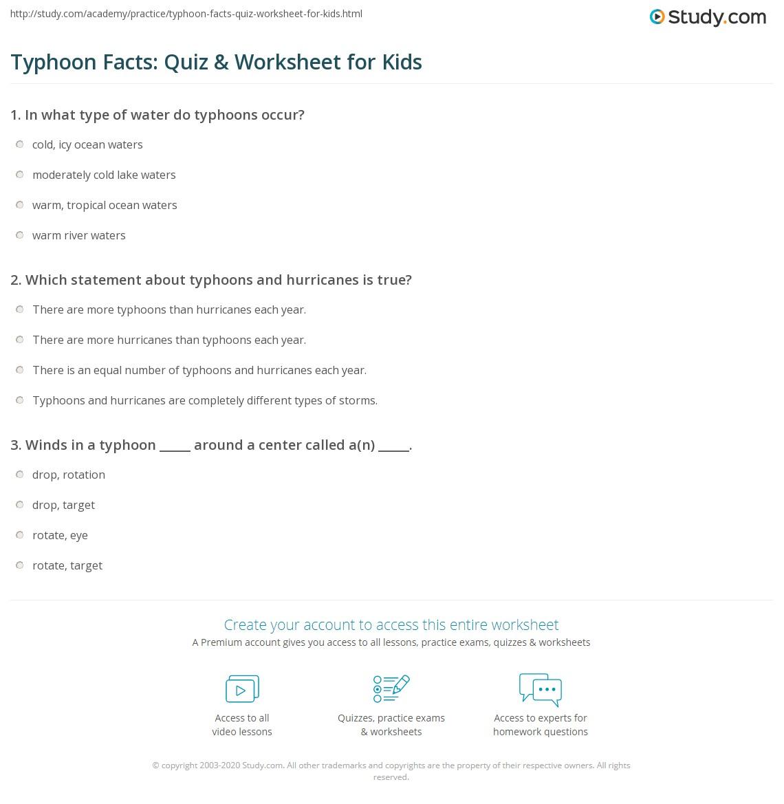 Typhoon Facts Quiz Amp Worksheet For Kids