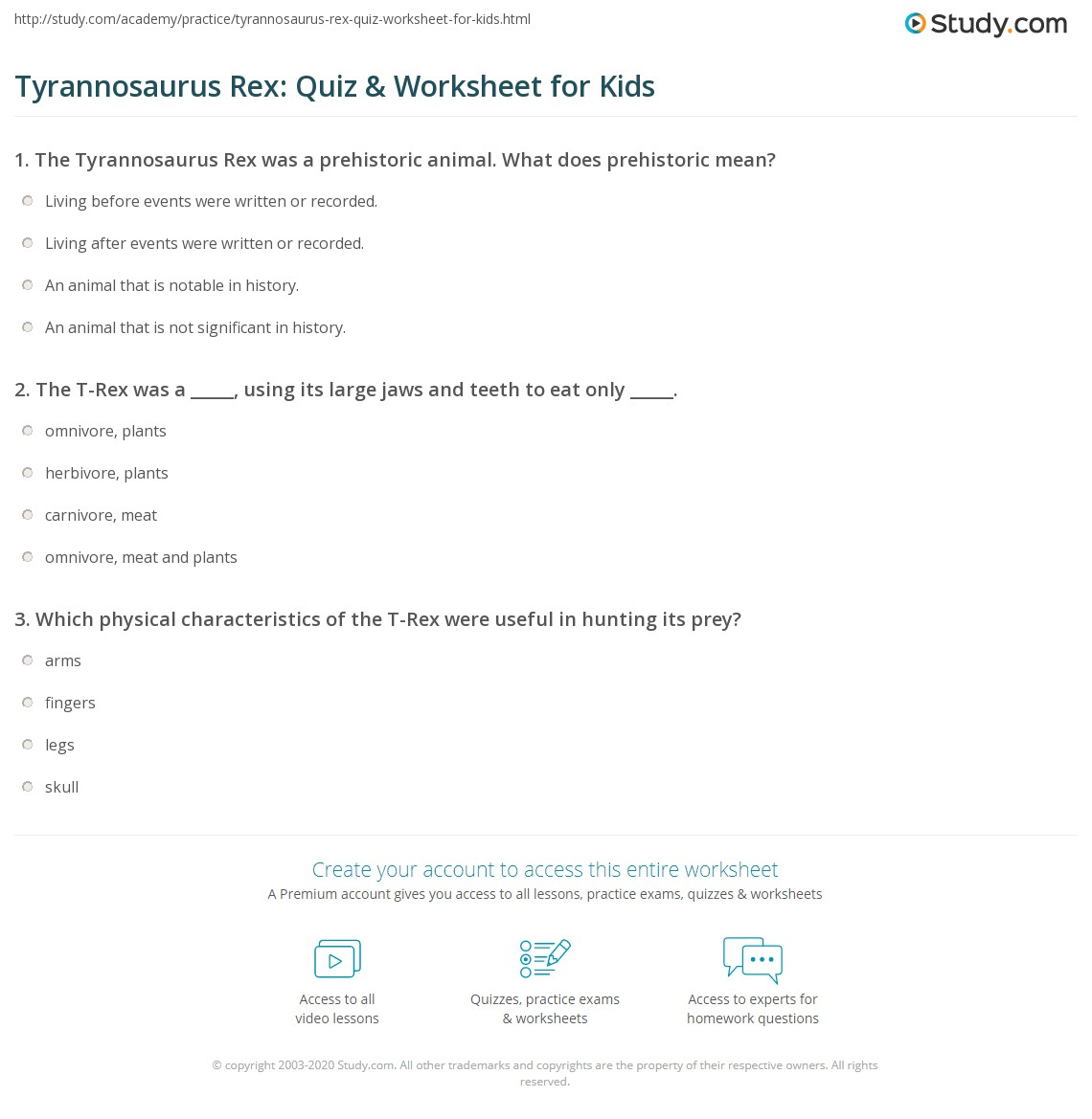 Tyrannosaurus Rex Quiz Amp Worksheet For Kids
