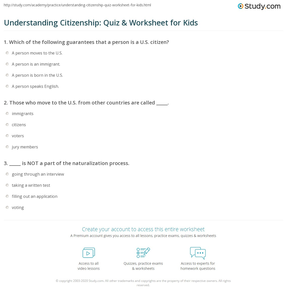 Understanding Citizenship Quiz Amp Worksheet For Kids