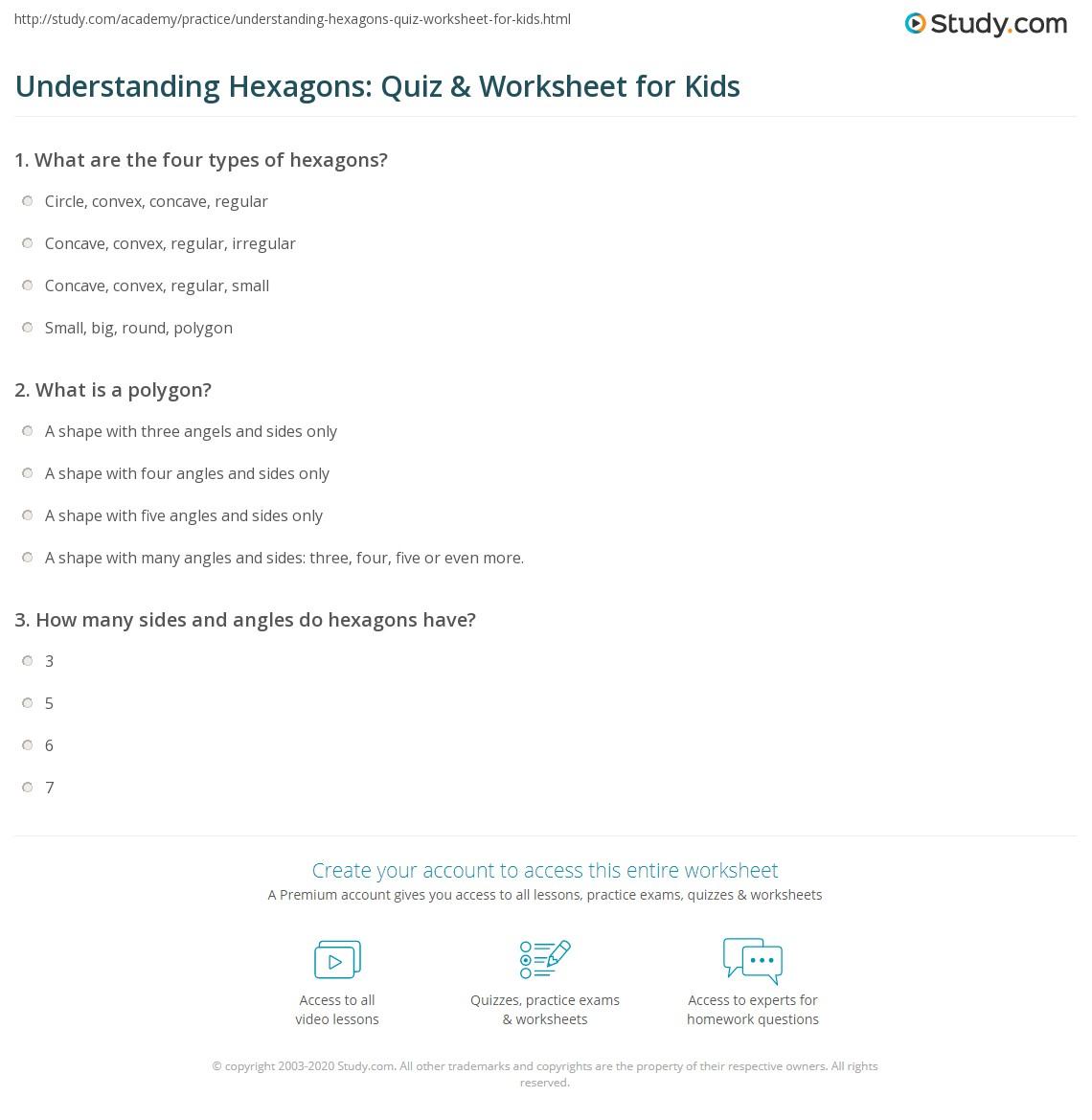 Worksheets Hexagon Worksheet Babyhunters Free Worksheets