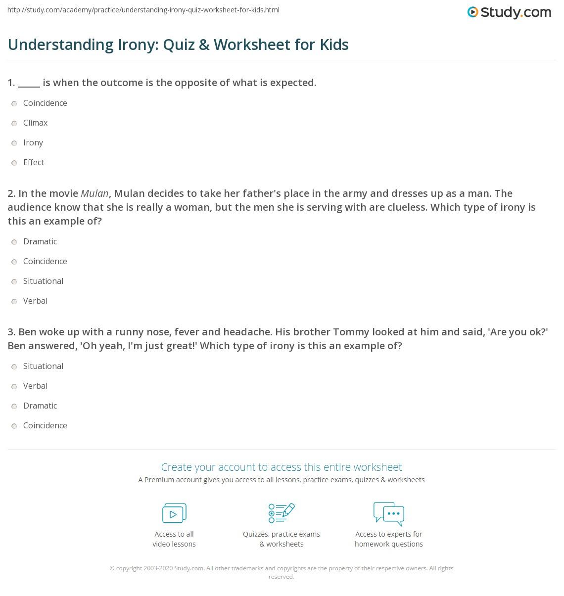 Understanding Irony Quiz Amp Worksheet For Kids
