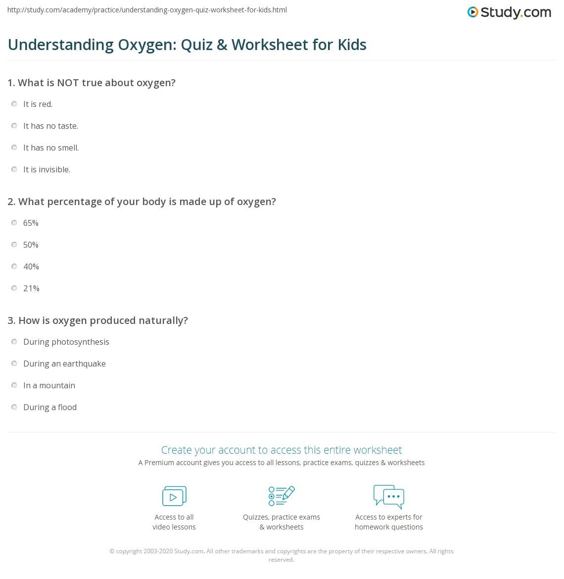 Understanding Oxygen Quiz Amp Worksheet For Kids