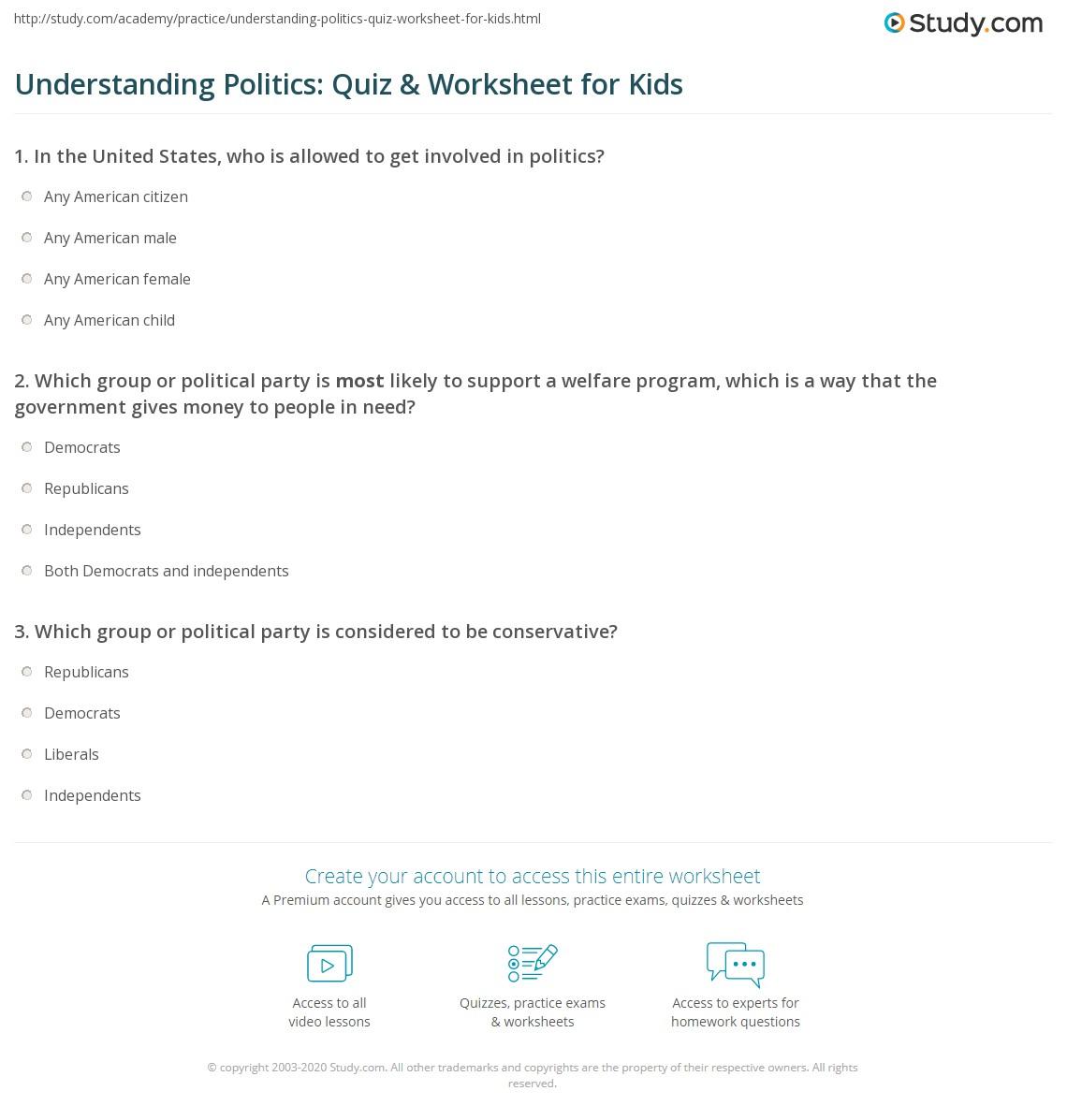 Understanding Politics Quiz Amp Worksheet For Kids