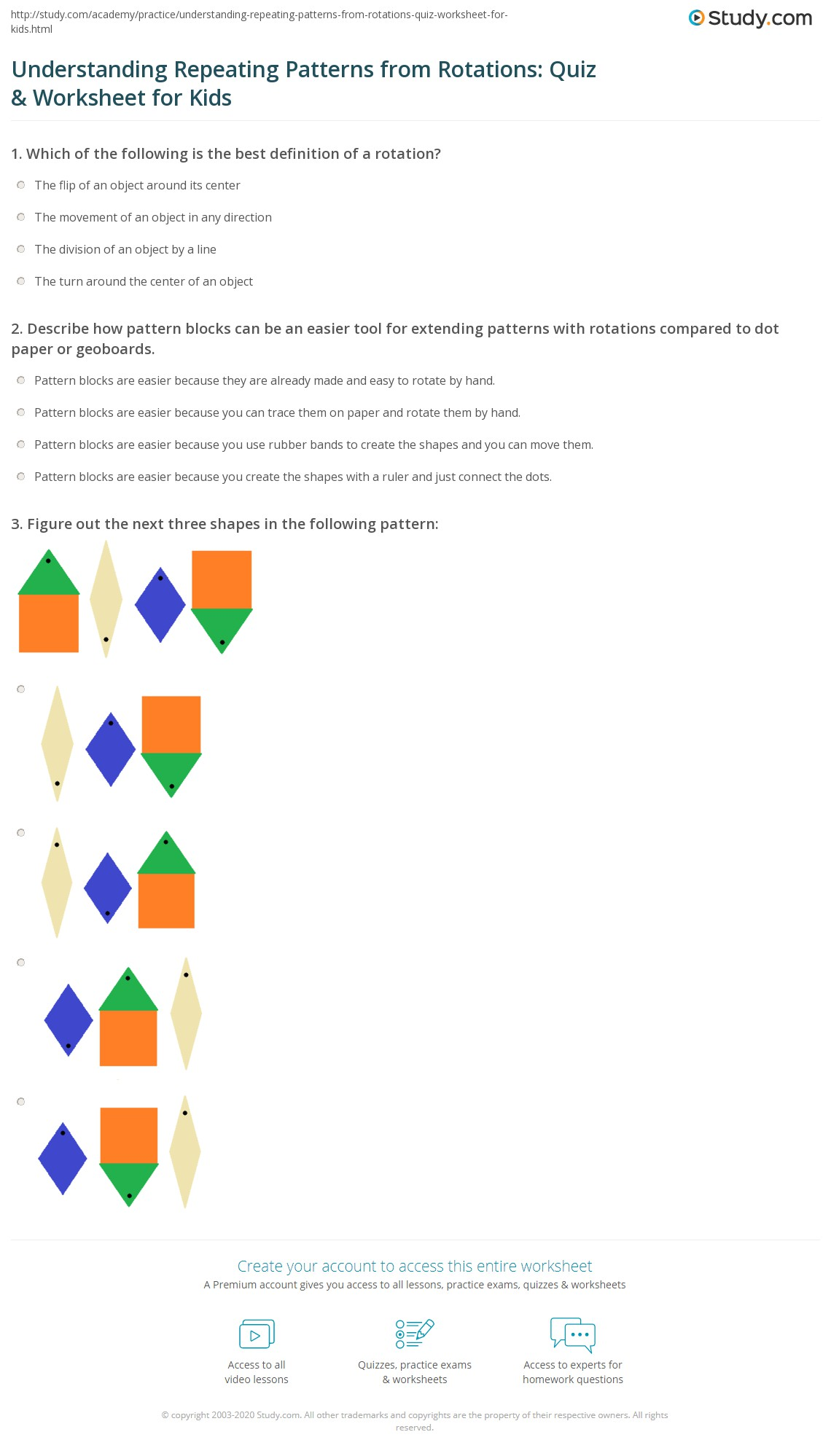 hight resolution of Understanding Repeating Patterns from Rotations: Quiz \u0026 Worksheet for Kids    Study.com