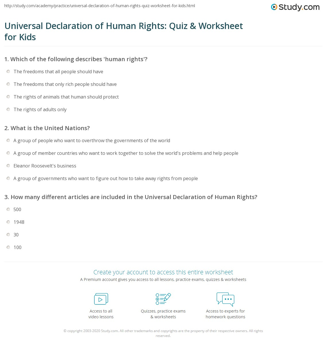 Universal Declaration Of Human Rights Quiz Amp Worksheet