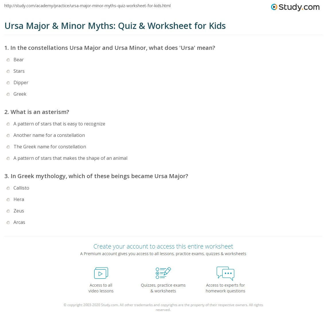 Ursa Major Amp Minor Myths Quiz Amp Worksheet For Kids