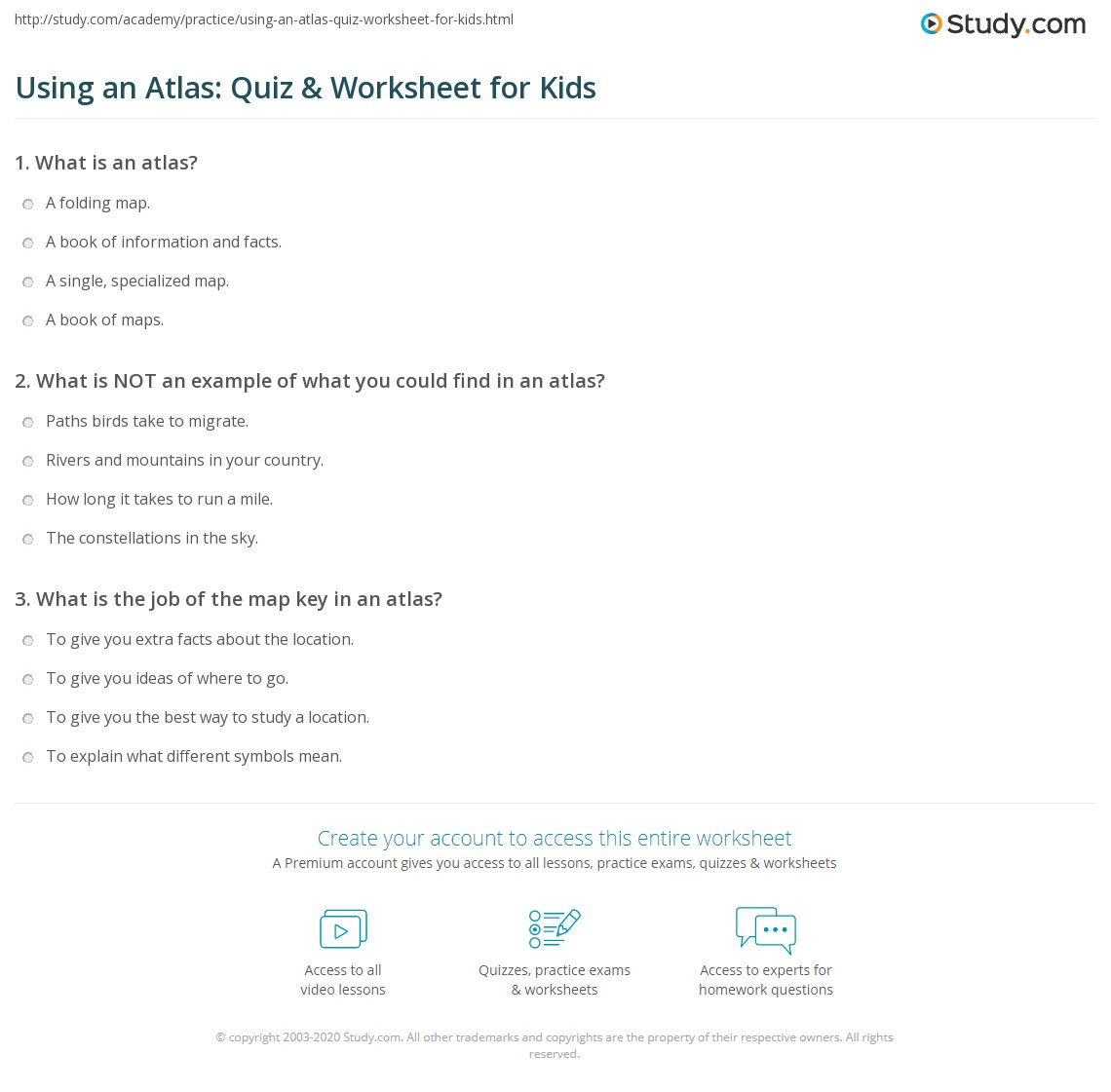 Using An Atlas Quiz Amp Worksheet For Kids