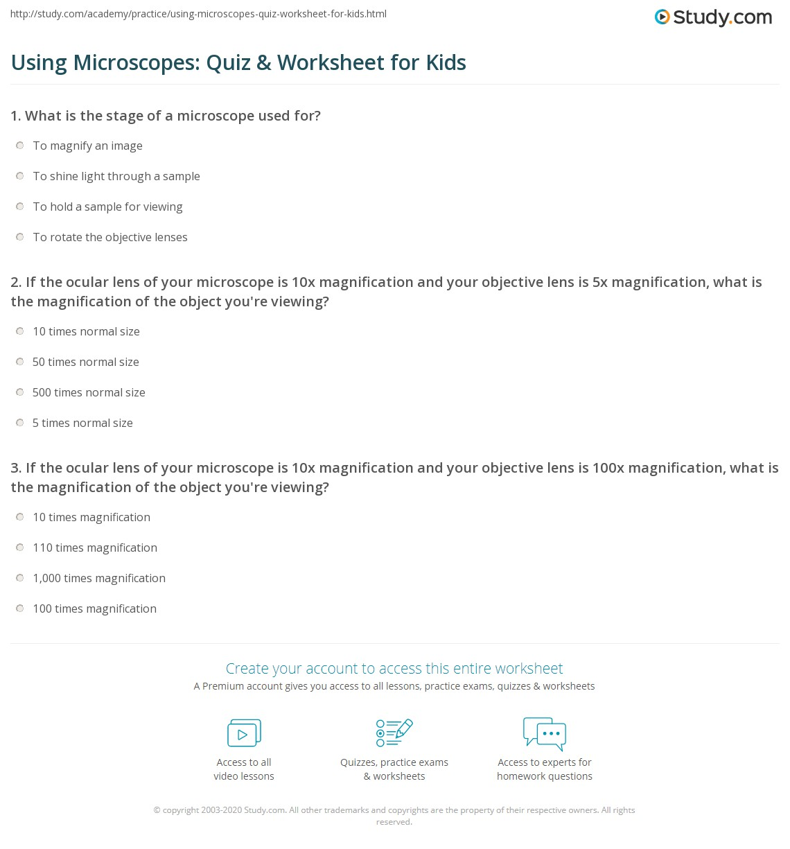 Using Microscopes Quiz Amp Worksheet For Kids