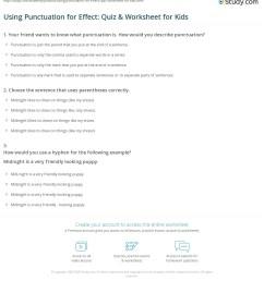 Using Punctuation for Effect: Quiz \u0026 Worksheet for Kids   Study.com [ 1249 x 1140 Pixel ]