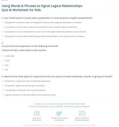 Using Words \u0026 Phrases to Signal Logical Relationships: Quiz \u0026 Worksheet for  Kids   Study.com [ 1293 x 1140 Pixel ]