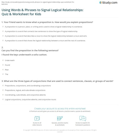 small resolution of Using Words \u0026 Phrases to Signal Logical Relationships: Quiz \u0026 Worksheet for  Kids   Study.com