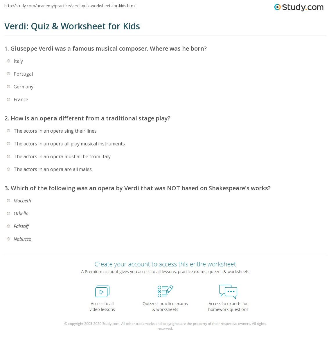 Verdi Quiz Amp Worksheet For Kids