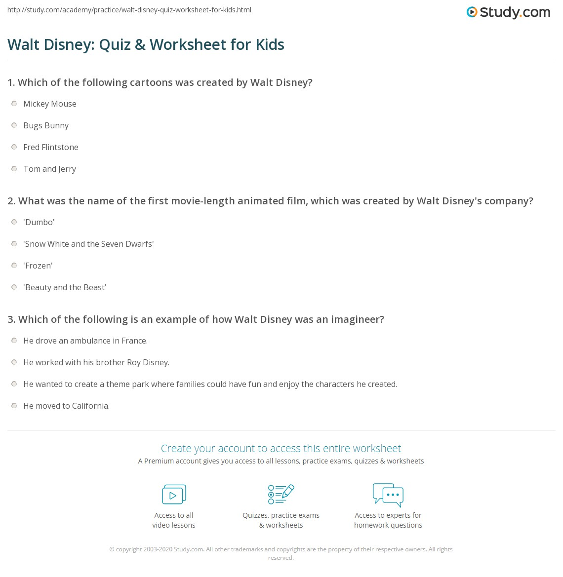 Walt Disney Quiz Amp Worksheet For Kids