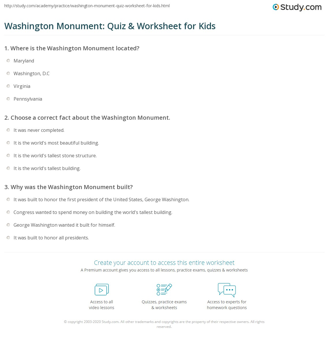 Washington Monument Quiz Amp Worksheet For Kids