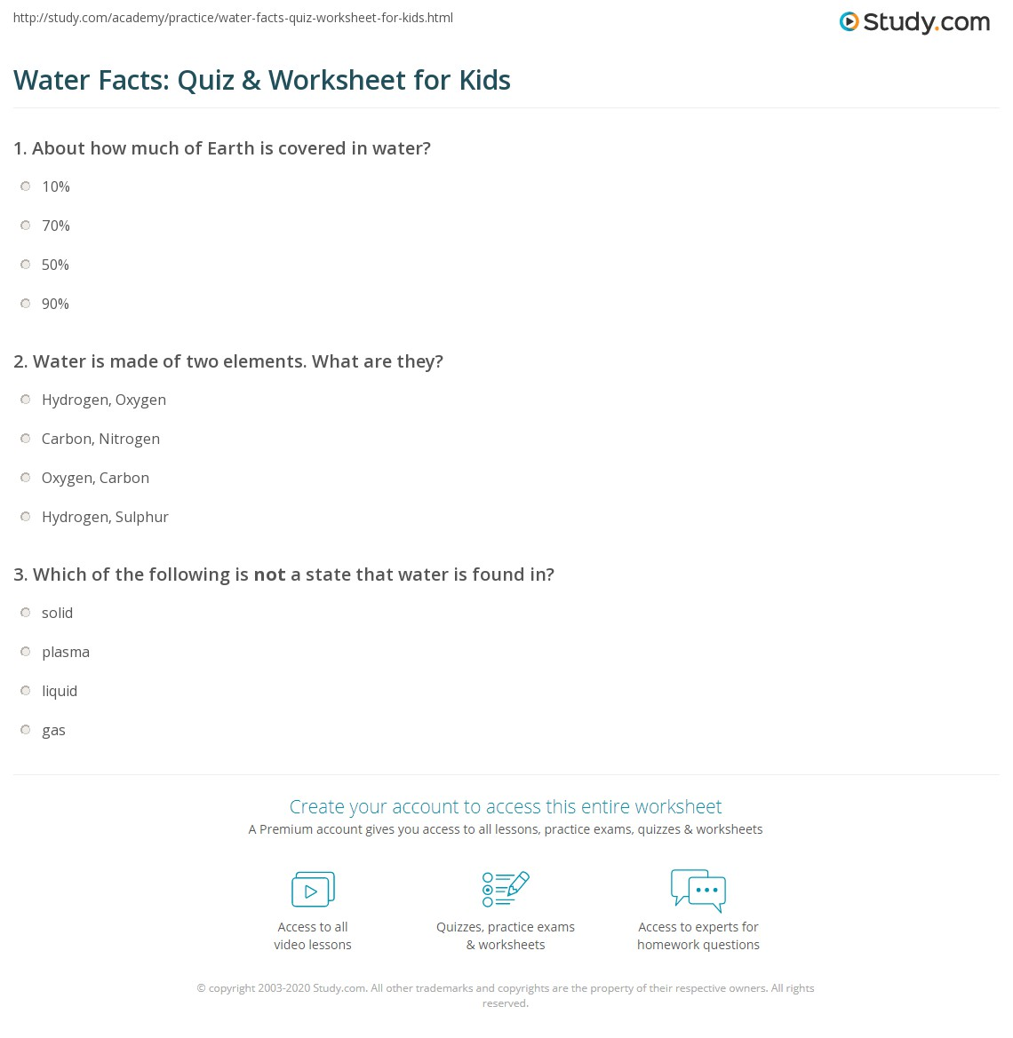 Water Facts Quiz Amp Worksheet For Kids