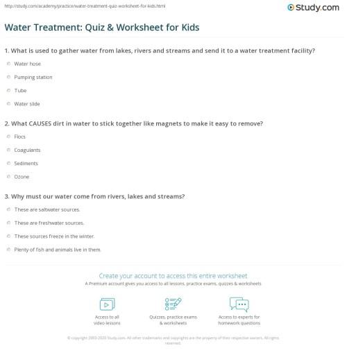 small resolution of Water Treatment: Quiz \u0026 Worksheet for Kids   Study.com