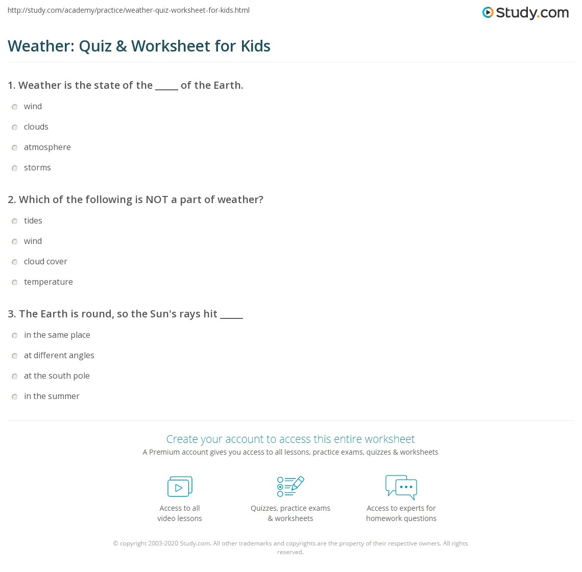 Weather Quiz Amp Worksheet For Kids