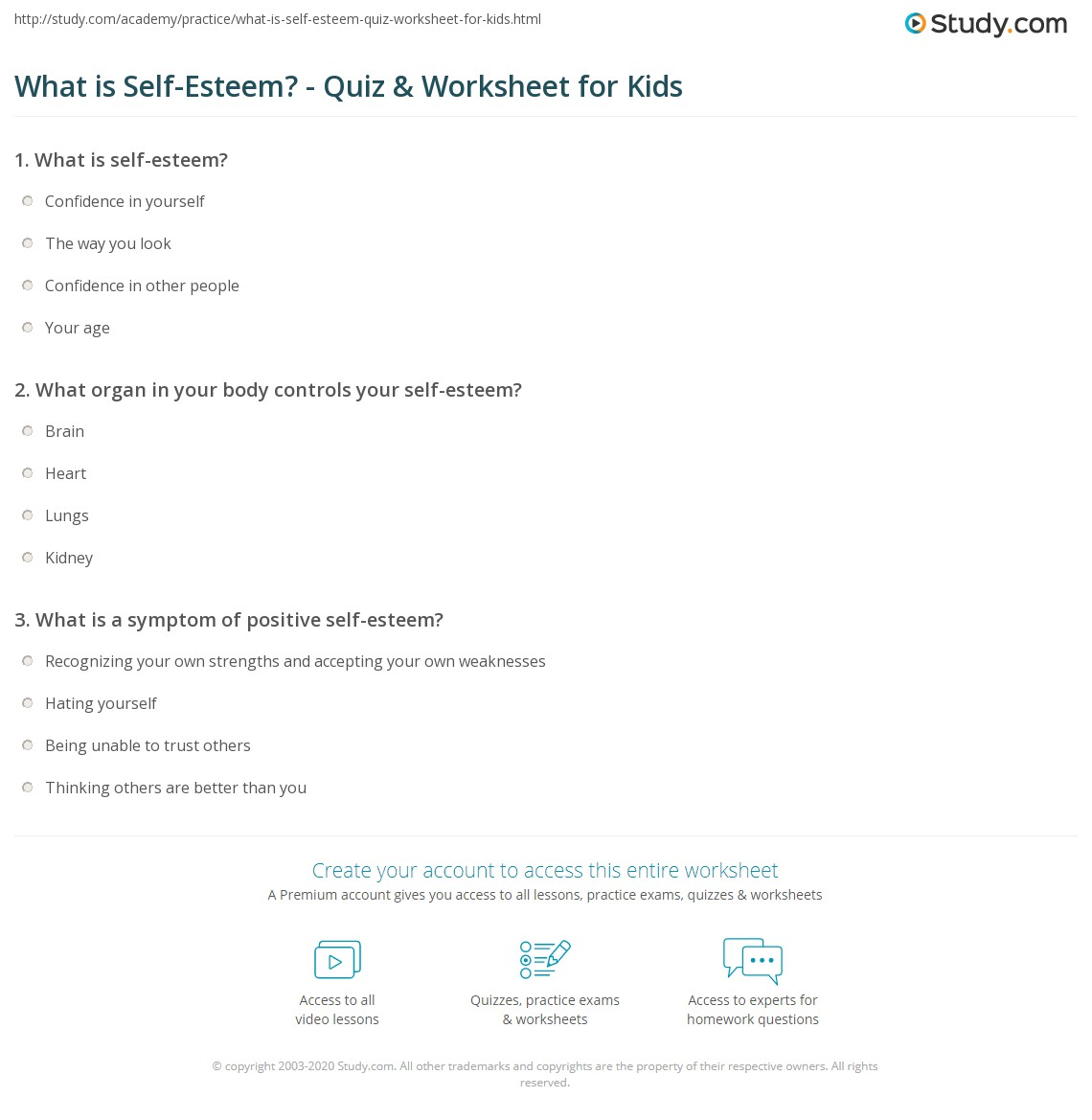 hight resolution of What is Self-Esteem? - Quiz \u0026 Worksheet for Kids   Study.com
