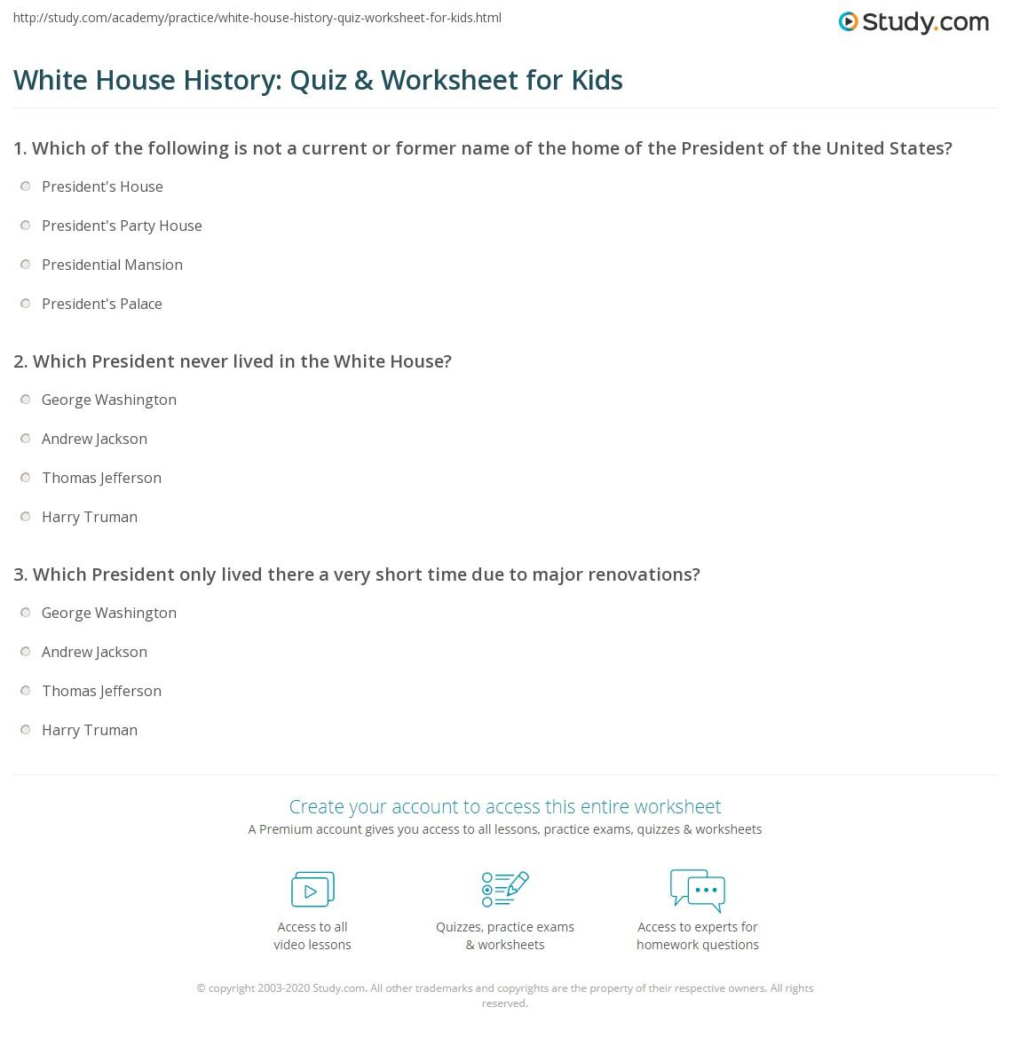 hight resolution of White House History: Quiz \u0026 Worksheet for Kids   Study.com