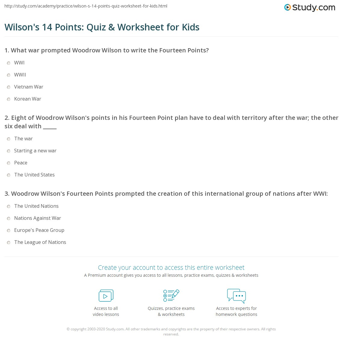 Wilson S 14 Points Quiz Amp Worksheet For Kids