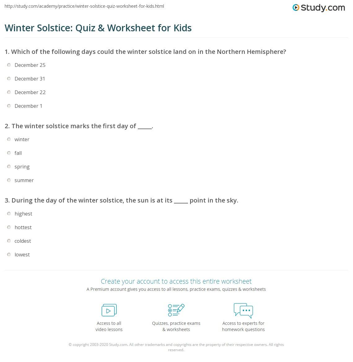 Winter Solstice Quiz Amp Worksheet For Kids