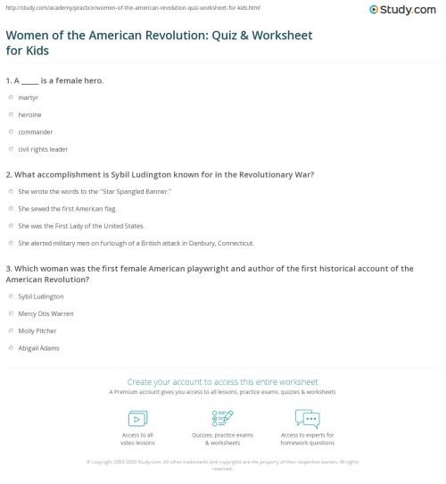 small resolution of Women of the American Revolution: Quiz \u0026 Worksheet for Kids   Study.com