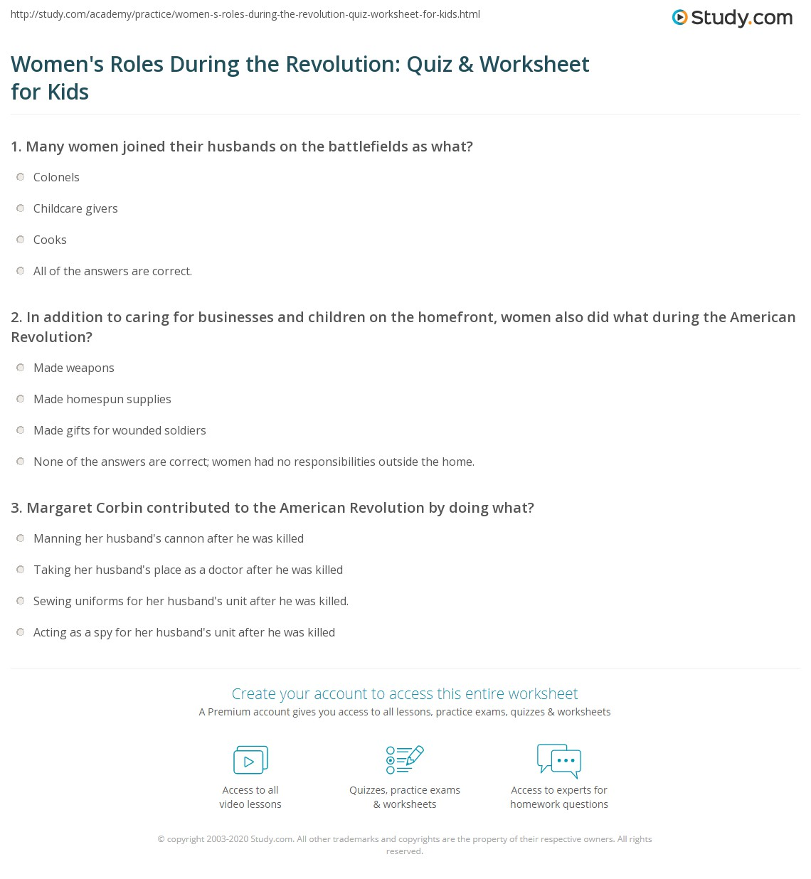 Women S Roles During The Revolution Quiz Amp Worksheet For Kids