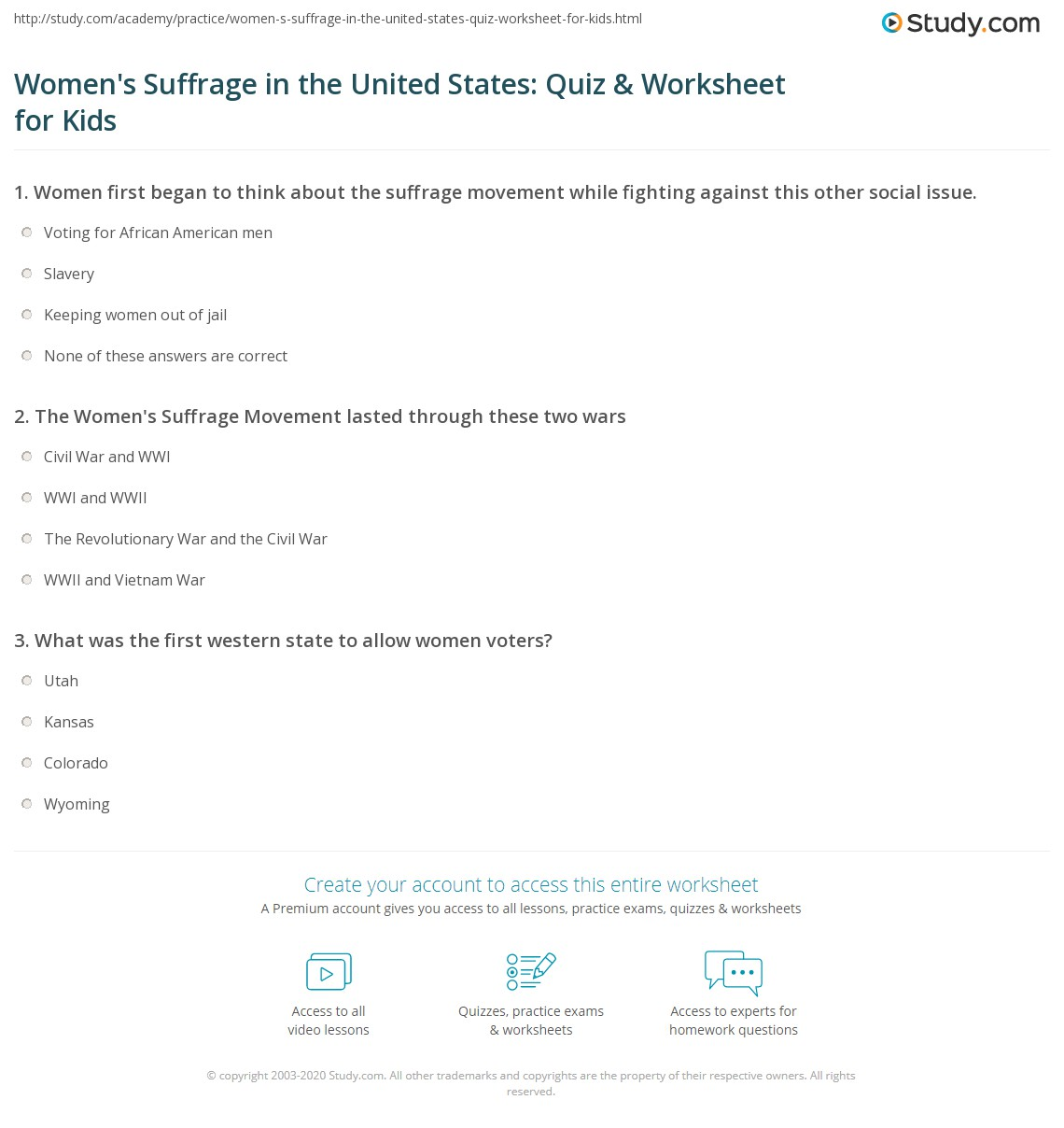 Women S Suffrage In The United States Quiz Amp Worksheet