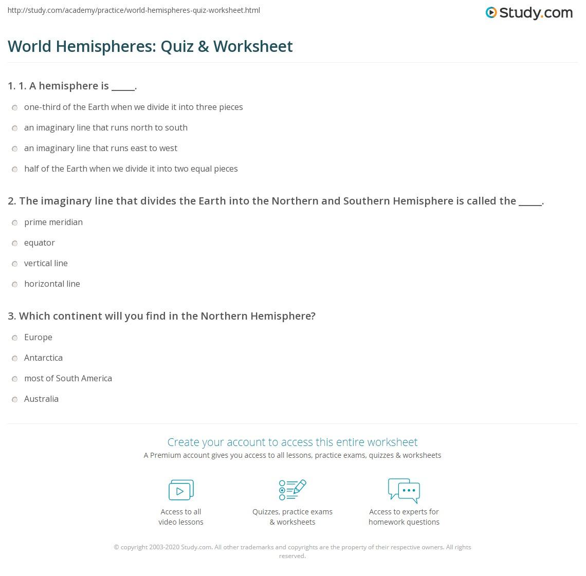 World Hemispheres Quiz Amp Worksheet