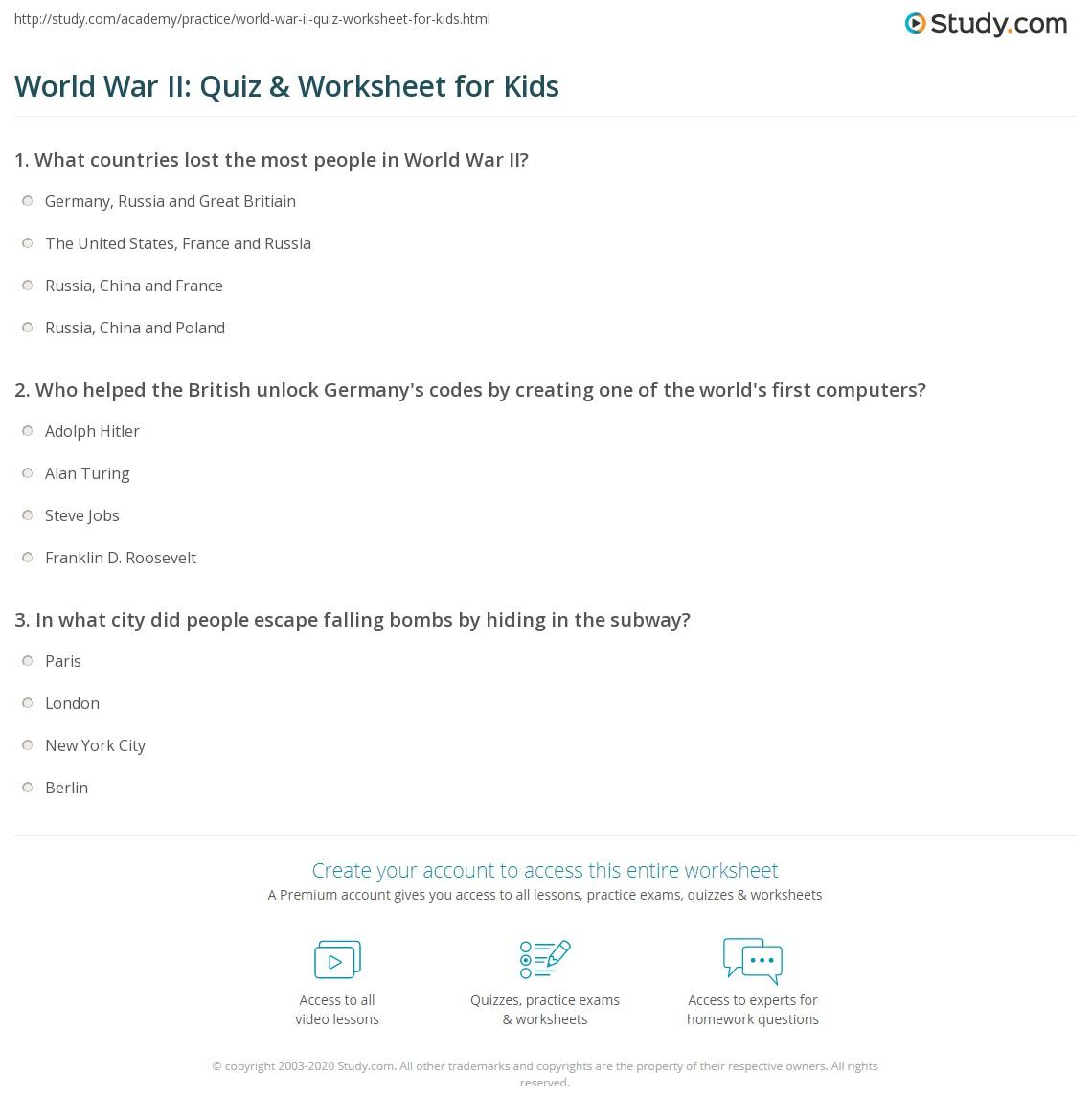 World War Ii Quiz Amp Worksheet For Kids