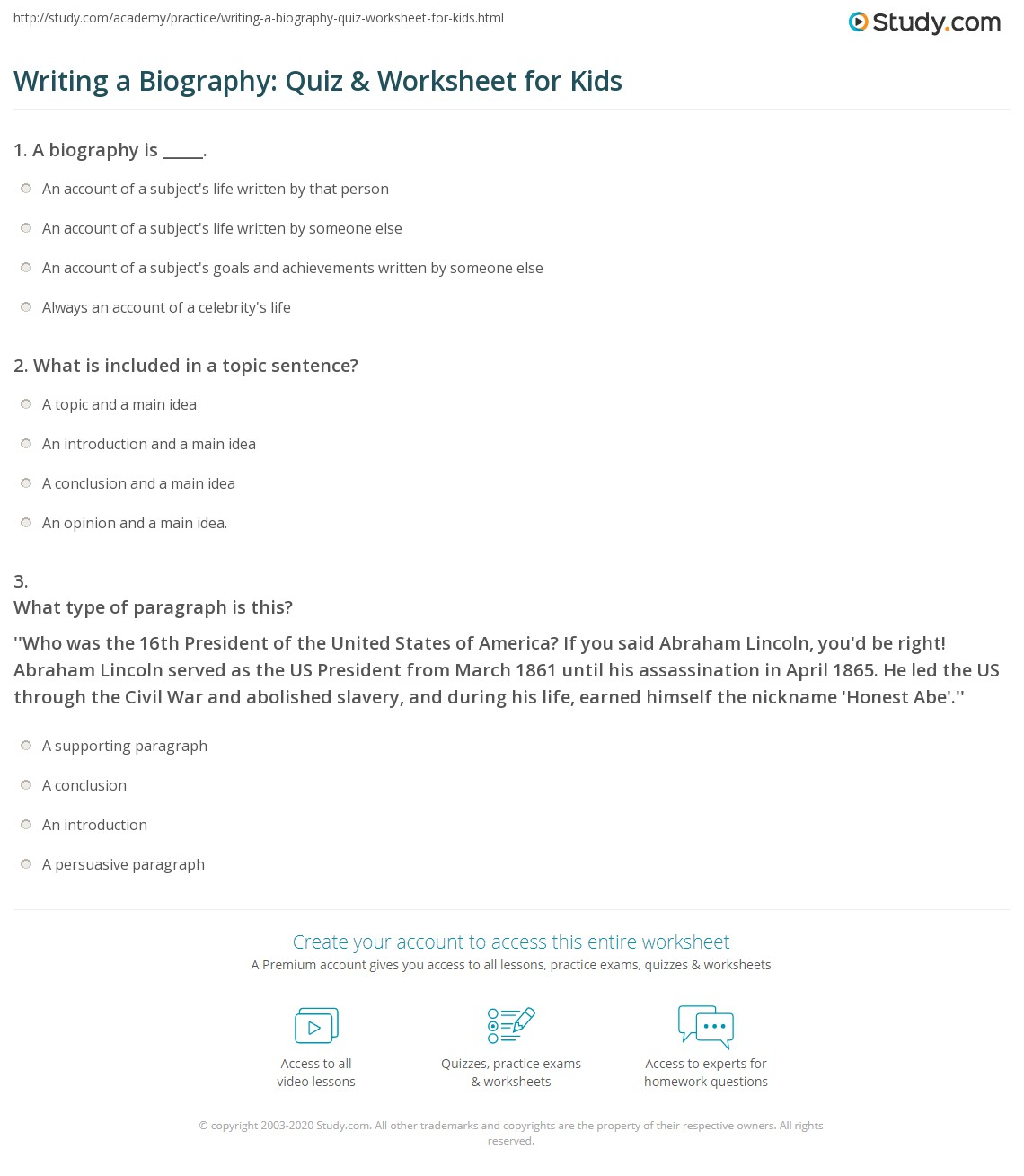 Writing A Biography Quiz Amp Worksheet For Kids