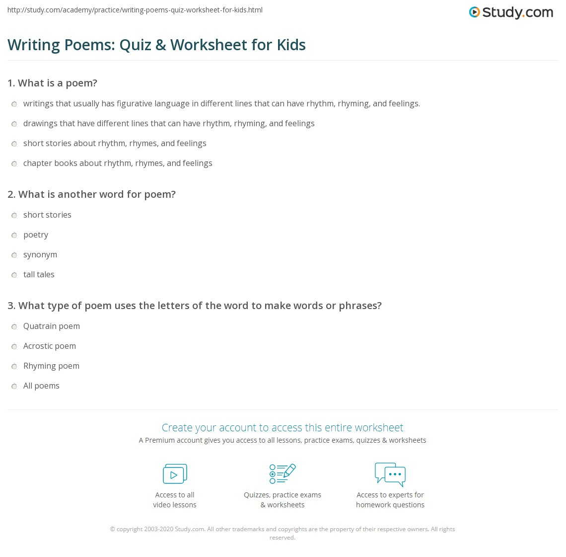 Writing Poems Quiz Amp Worksheet For Kids