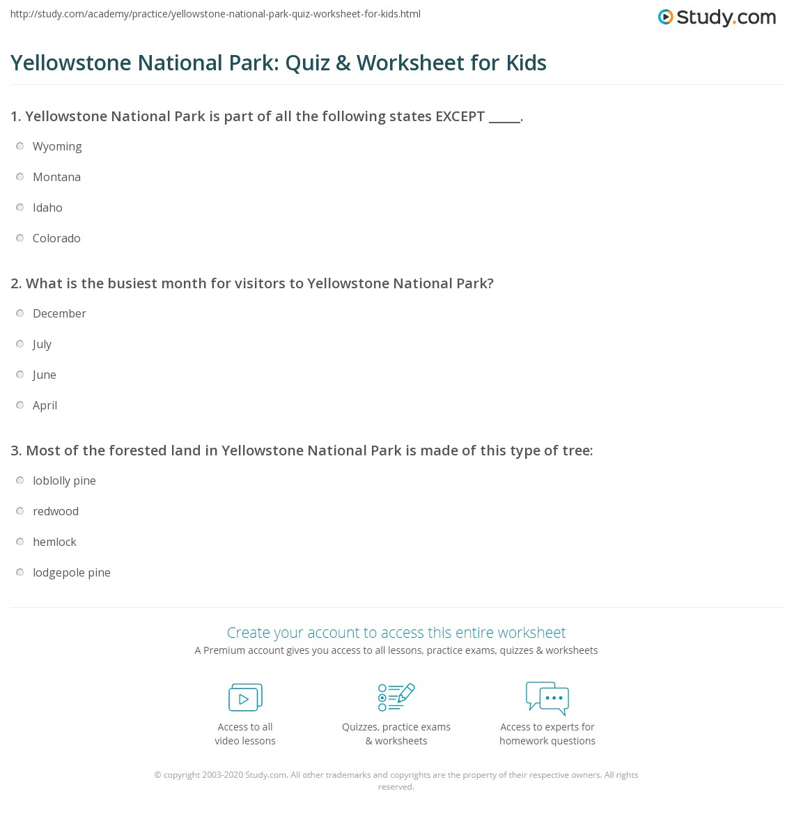 Yellowstone National Park Quiz Amp Worksheet For Kids