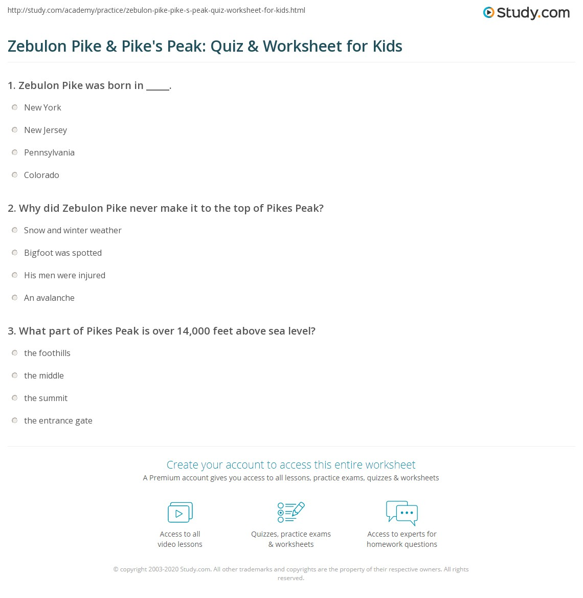 Zebulon Pike Amp Pike S Peak Quiz Amp Worksheet For Kids