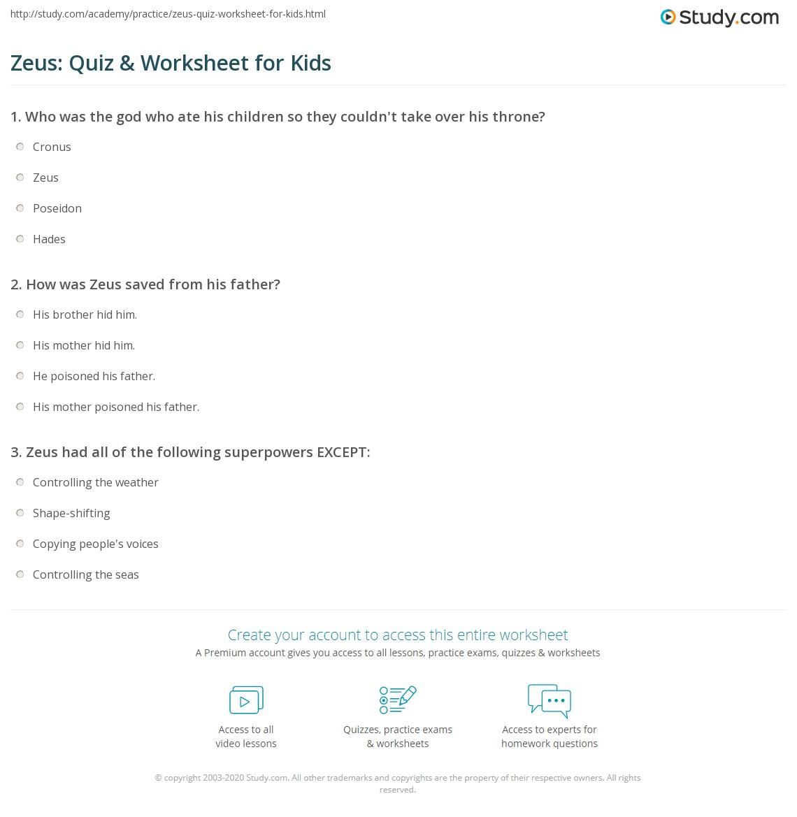 Zeus Quiz Amp Worksheet For Kids
