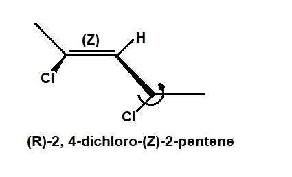 Draw (R)-2, 4-dichloro-(Z)-2-pentene. Be sure to clearly