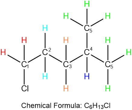 Draw the structures of 1-chlorohexane and 1-chloro-4
