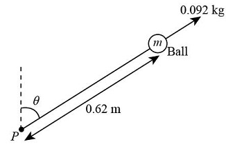 To form a pendulum, a 0.092 \ kg ball is attached to one